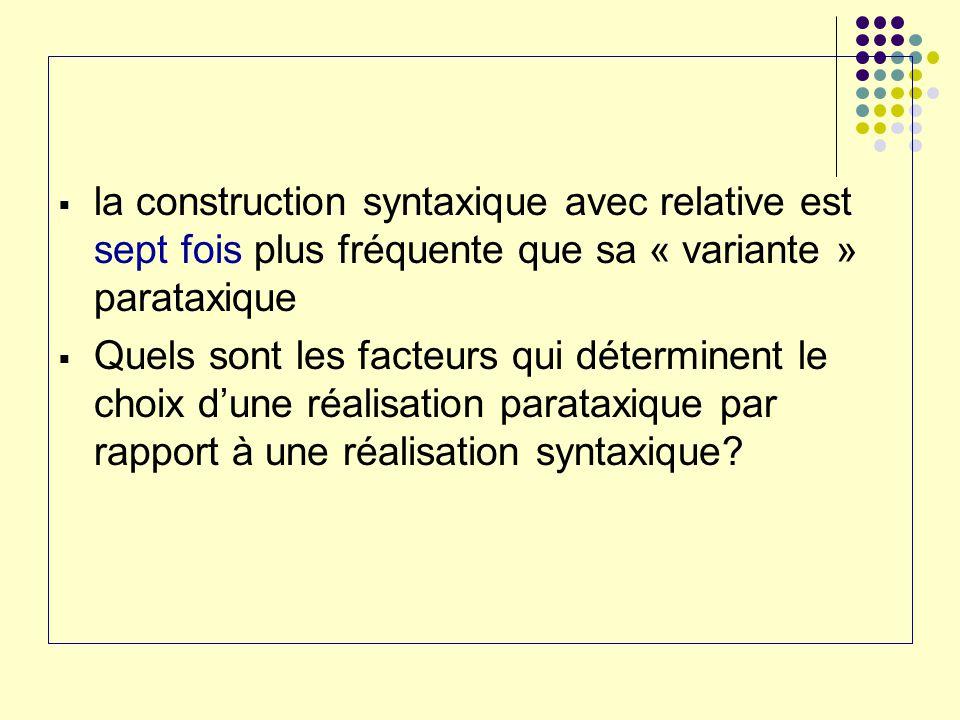 la construction syntaxique avec relative est sept fois plus fréquente que sa « variante » parataxique Quels sont les facteurs qui déterminent le choix