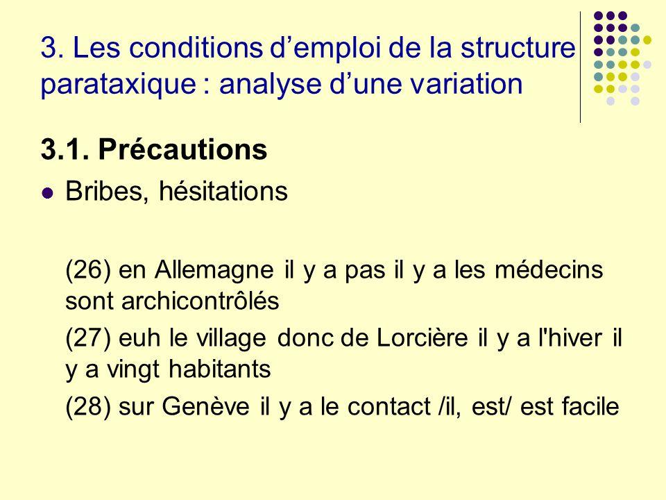 3. Les conditions demploi de la structure parataxique : analyse dune variation 3.1. Précautions Bribes, hésitations (26) en Allemagne il y a pas il y