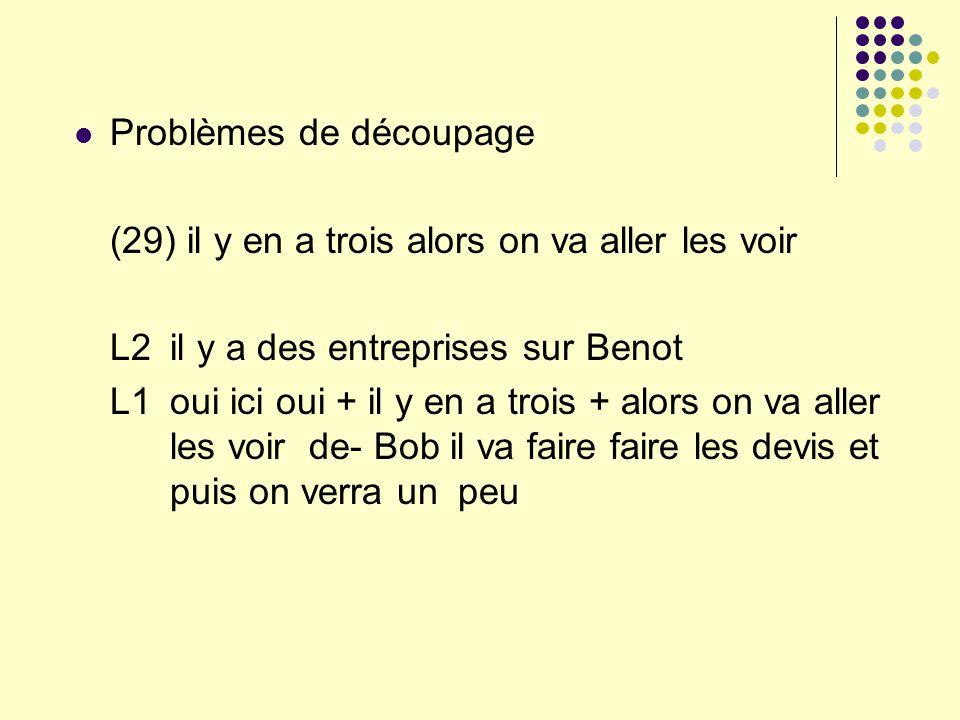 Problèmes de découpage (29) il y en a trois alors on va aller les voir L2 il y a des entreprises sur Benot L1 oui ici oui + il y en a trois + alors on