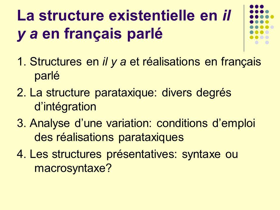 La structure existentielle en il y a en français parlé 1. Structures en il y a et réalisations en français parlé 2. La structure parataxique: divers d