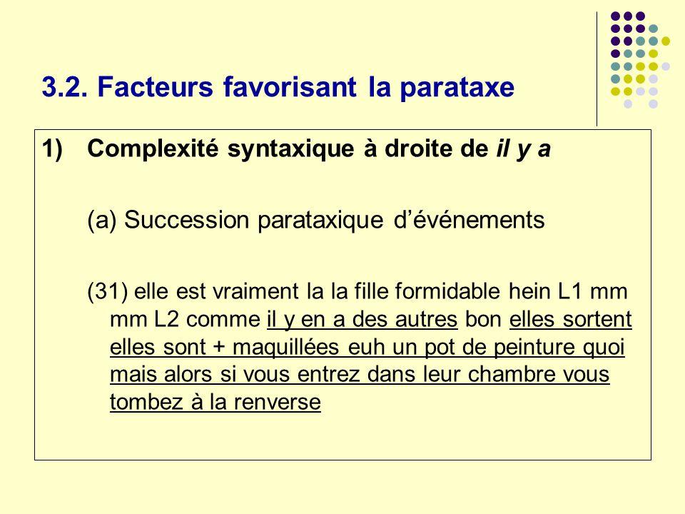 3.2. Facteurs favorisant la parataxe 1)Complexité syntaxique à droite de il y a (a) Succession parataxique dévénements (31) elle est vraiment la la fi