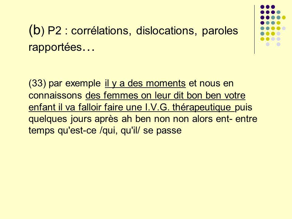 (b ) P2 : corrélations, dislocations, paroles rapportées … (33) par exemple il y a des moments et nous en connaissons des femmes on leur dit bon ben v