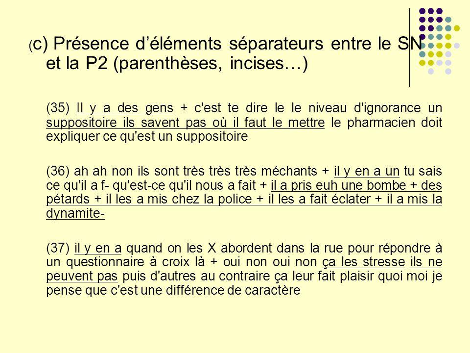 ( c) Présence déléments séparateurs entre le SN et la P2 (parenthèses, incises…) (35) Il y a des gens + c'est te dire le le niveau d'ignorance un supp