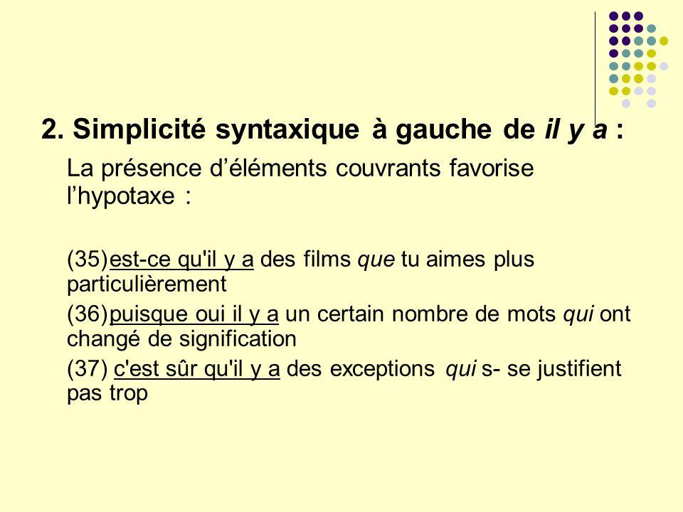 2. Simplicité syntaxique à gauche de il y a : La présence déléments couvrants favorise lhypotaxe : (35)est-ce qu'il y a des films que tu aimes plus pa