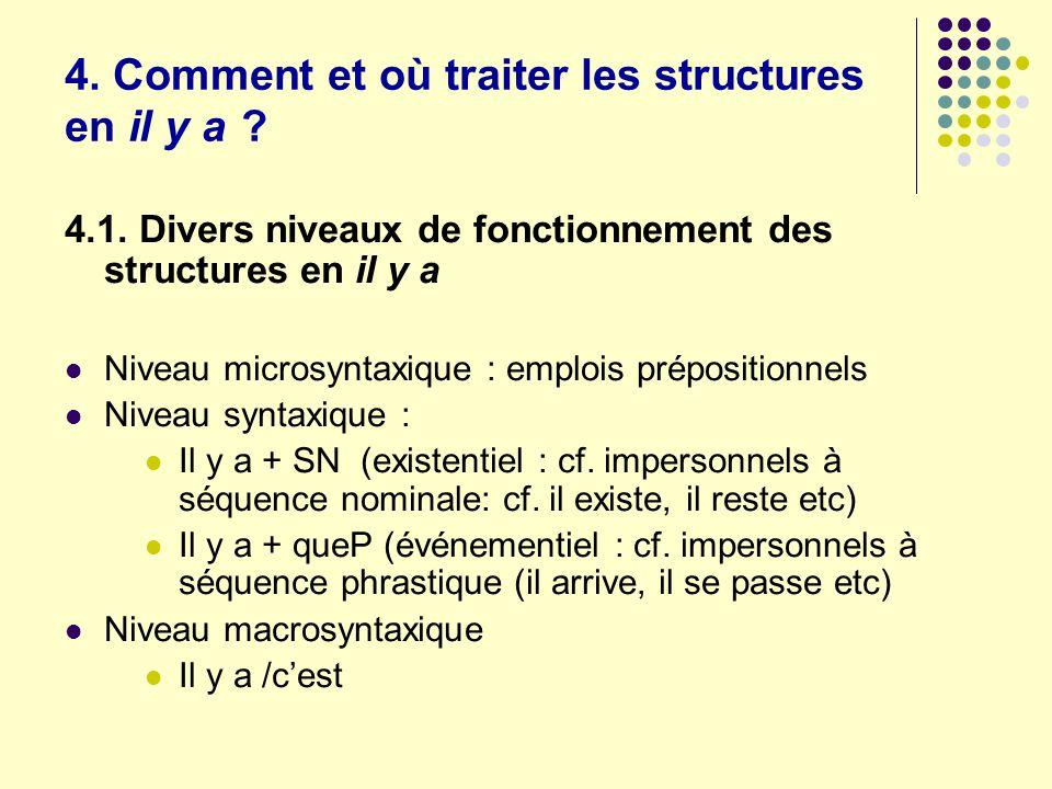 4. Comment et où traiter les structures en il y a ? 4.1. Divers niveaux de fonctionnement des structures en il y a Niveau microsyntaxique : emplois pr