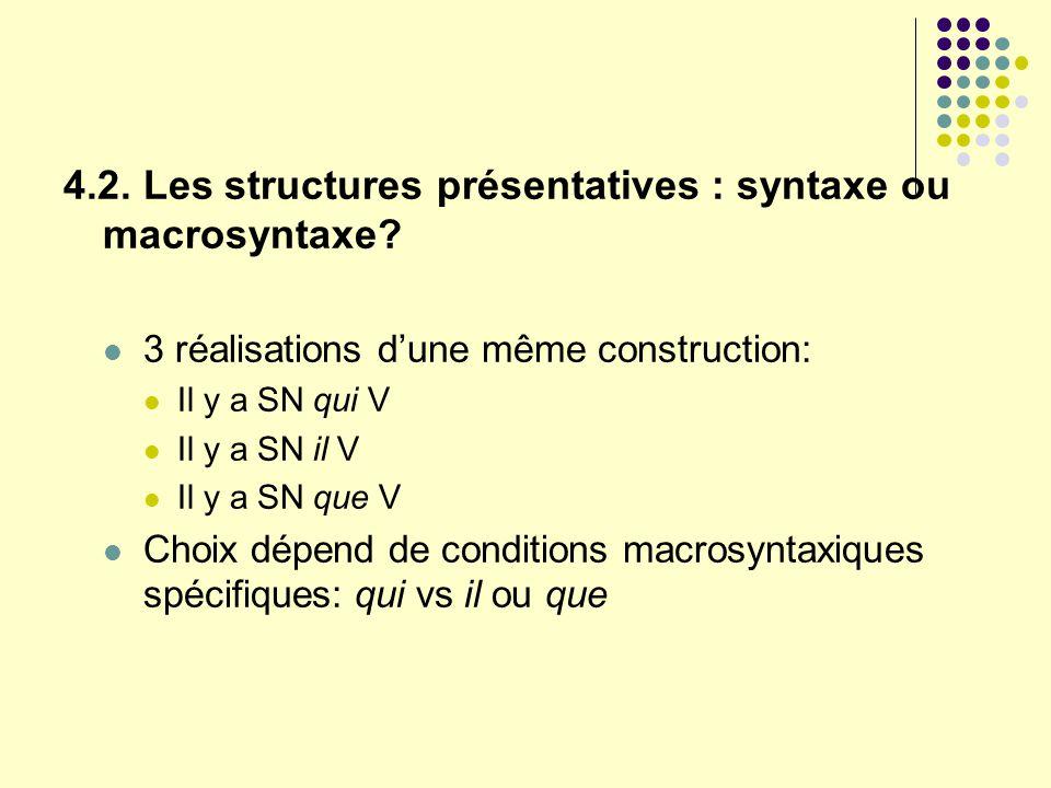 4.2. Les structures présentatives : syntaxe ou macrosyntaxe? 3 réalisations dune même construction: Il y a SN qui V Il y a SN il V Il y a SN que V Cho