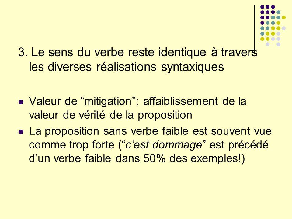 3. Le sens du verbe reste identique à travers les diverses réalisations syntaxiques Valeur de mitigation: affaiblissement de la valeur de vérité de la