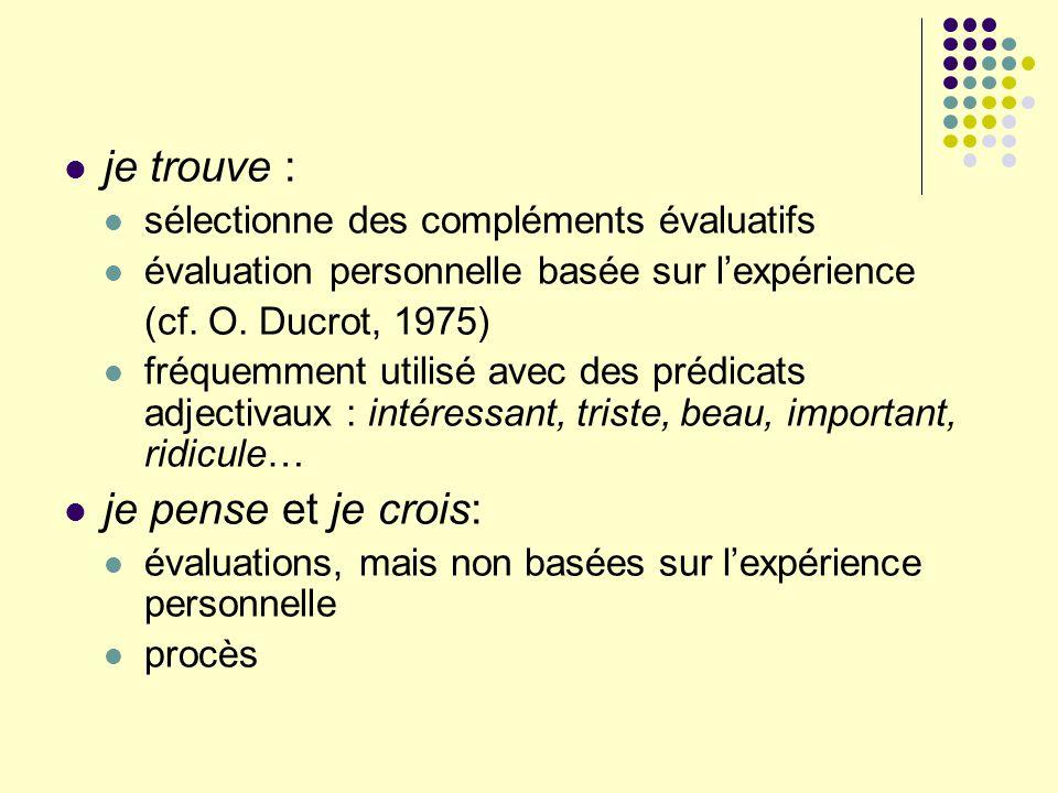 je trouve : sélectionne des compléments évaluatifs évaluation personnelle basée sur lexpérience (cf. O. Ducrot, 1975) fréquemment utilisé avec des pré