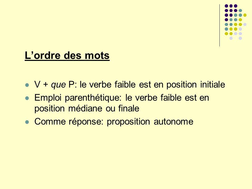 Lordre des mots V + que P: le verbe faible est en position initiale Emploi parenthétique: le verbe faible est en position médiane ou finale Comme répo