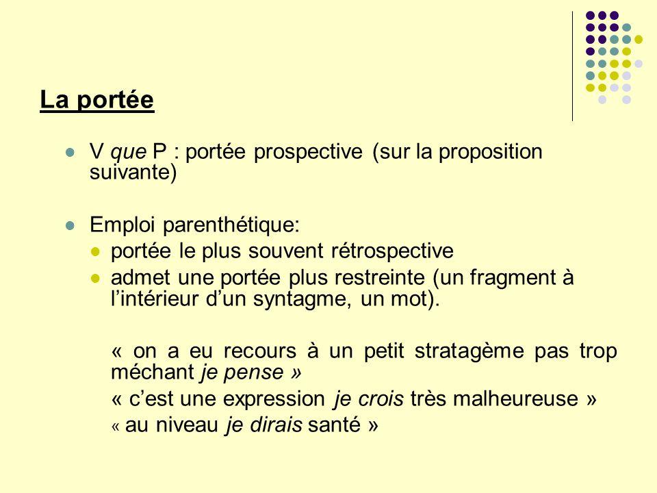 La portée V que P : portée prospective (sur la proposition suivante) Emploi parenthétique: portée le plus souvent rétrospective admet une portée plus