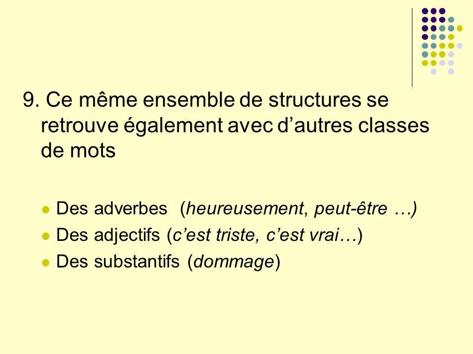 9. Ce même ensemble de structures se retrouve également avec dautres classes de mots Des adverbes (heureusement, peut-être …) Des adjectifs (cest tris