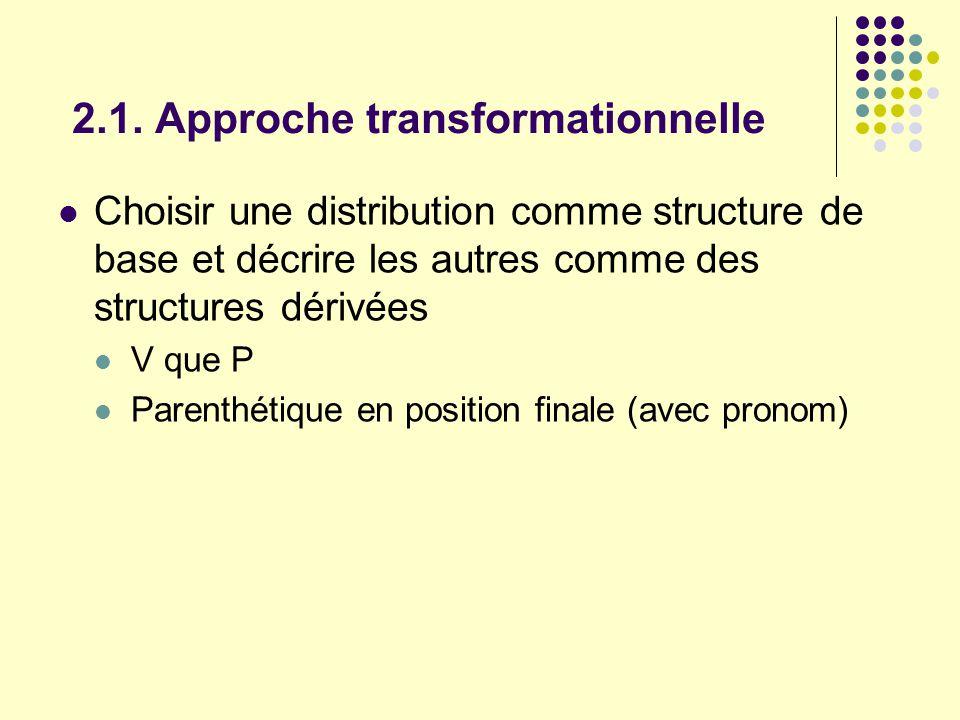 2.1. Approche transformationnelle Choisir une distribution comme structure de base et décrire les autres comme des structures dérivées V que P Parenth