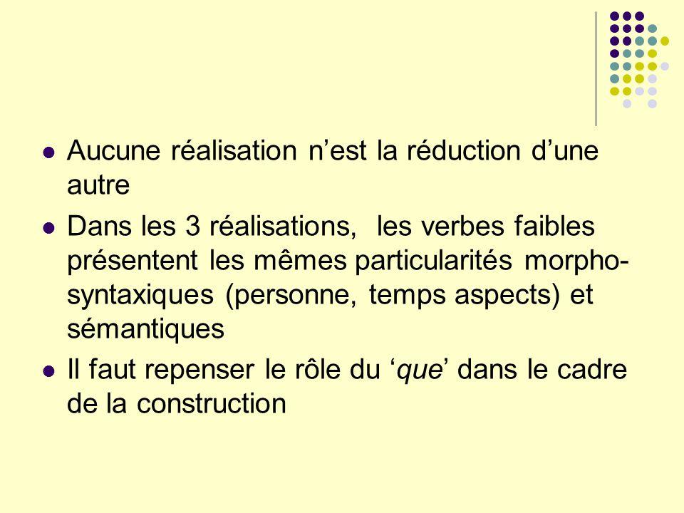 Aucune réalisation nest la réduction dune autre Dans les 3 réalisations, les verbes faibles présentent les mêmes particularités morpho- syntaxiques (p