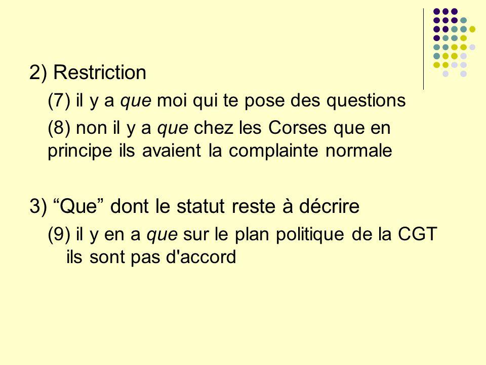 2) Restriction (7) il y a que moi qui te pose des questions (8) non il y a que chez les Corses que en principe ils avaient la complainte normale 3) Qu