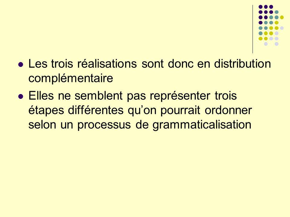Les trois réalisations sont donc en distribution complémentaire Elles ne semblent pas représenter trois étapes différentes quon pourrait ordonner selo
