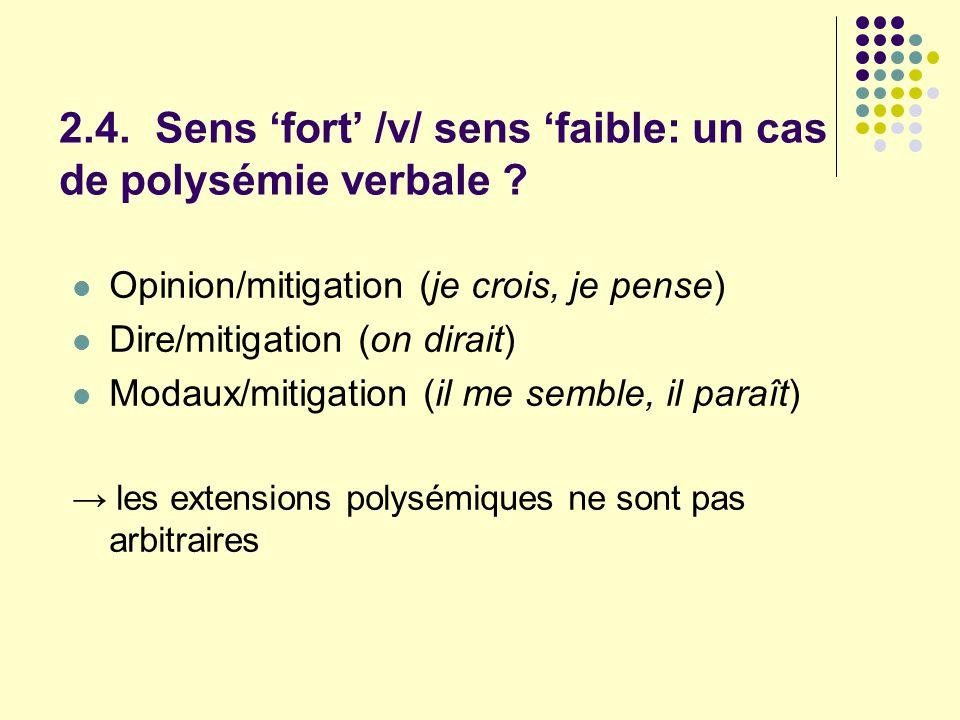 2.4. Sens fort /v/ sens faible: un cas de polysémie verbale ? Opinion/mitigation (je crois, je pense) Dire/mitigation (on dirait) Modaux/mitigation (i