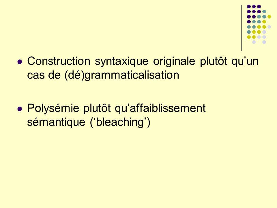 Construction syntaxique originale plutôt quun cas de (dé)grammaticalisation Polysémie plutôt quaffaiblissement sémantique (bleaching)