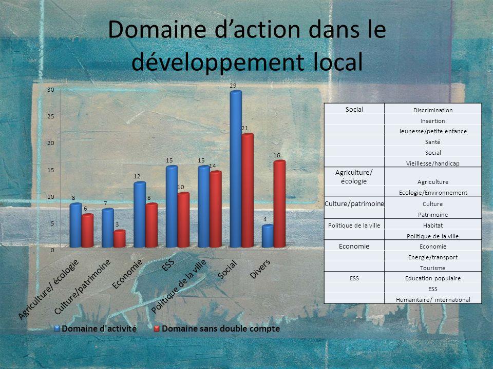 Domaine daction dans le développement local Social Discrimination Insertion Jeunesse/petite enfance Santé Social Vieillesse/handicap Agriculture/ écol