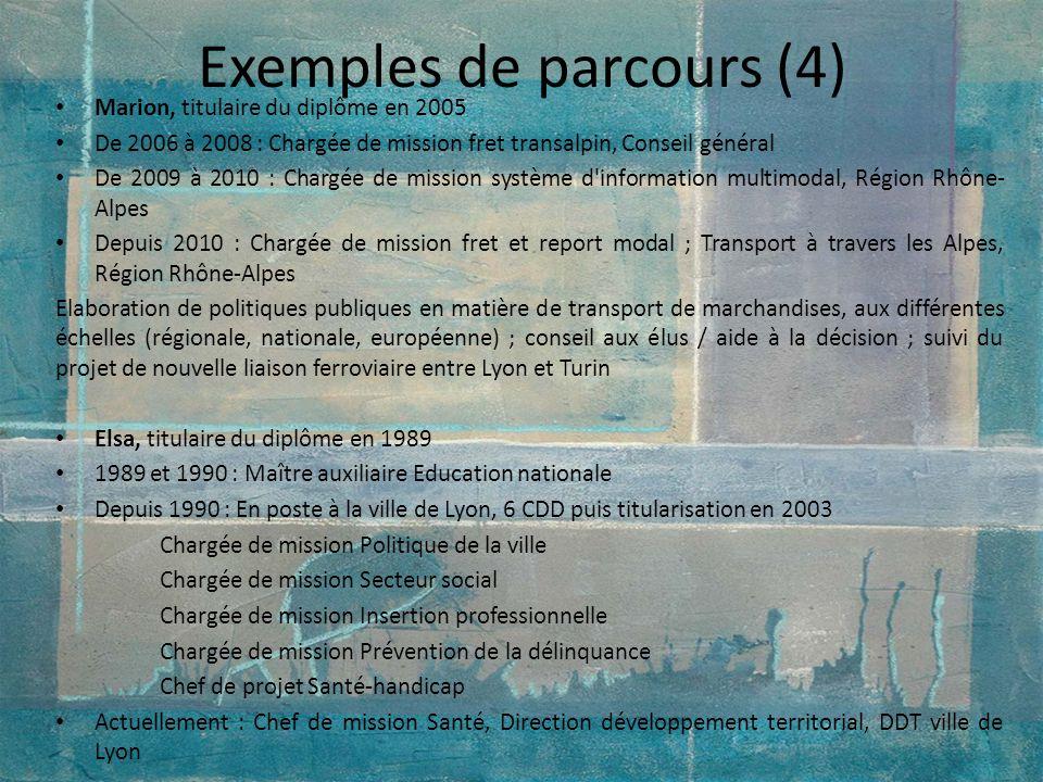 Exemples de parcours (4) Marion, titulaire du diplôme en 2005 De 2006 à 2008 : Chargée de mission fret transalpin, Conseil général De 2009 à 2010 : Ch
