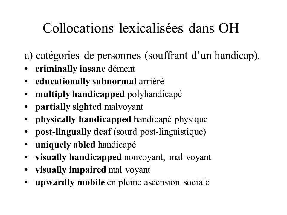 Collocations lexicalisées dans OH a) catégories de personnes (souffrant dun handicap).
