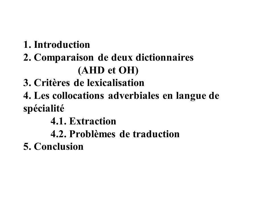 1. Introduction 2. Comparaison de deux dictionnaires (AHD et OH) 3.