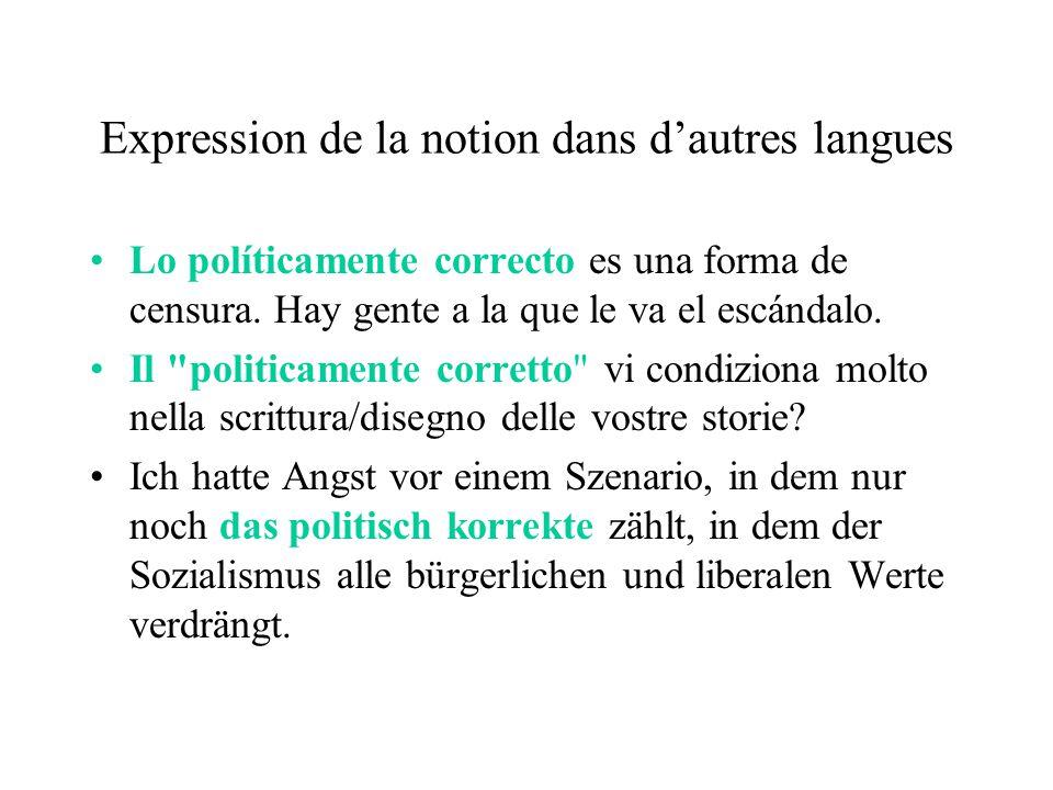 Expression de la notion dans dautres langues Lo políticamente correcto es una forma de censura.