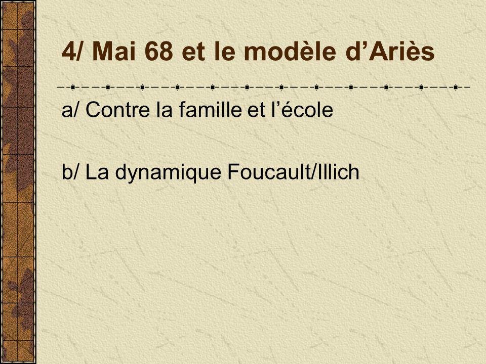 4/ Mai 68 et le modèle dAriès a/ Contre la famille et lécole b/ La dynamique Foucault/Illich