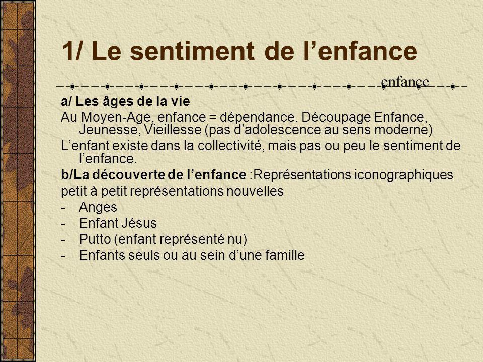 1/ Le sentiment de lenfance a/ Les âges de la vie Au Moyen-Age, enfance = dépendance.