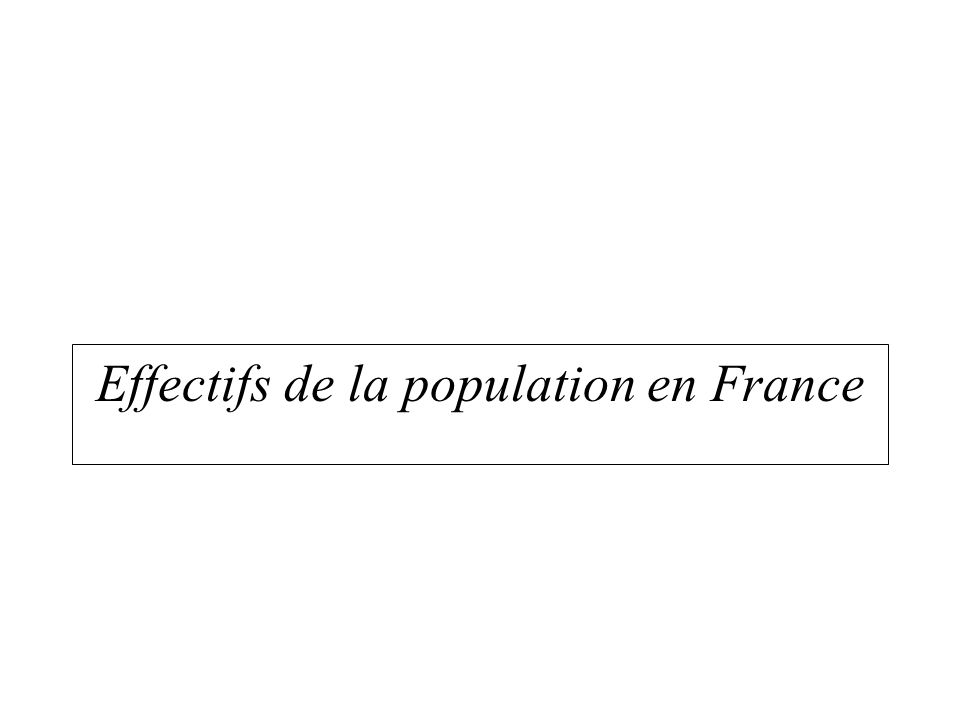 Effectifs de la population en France