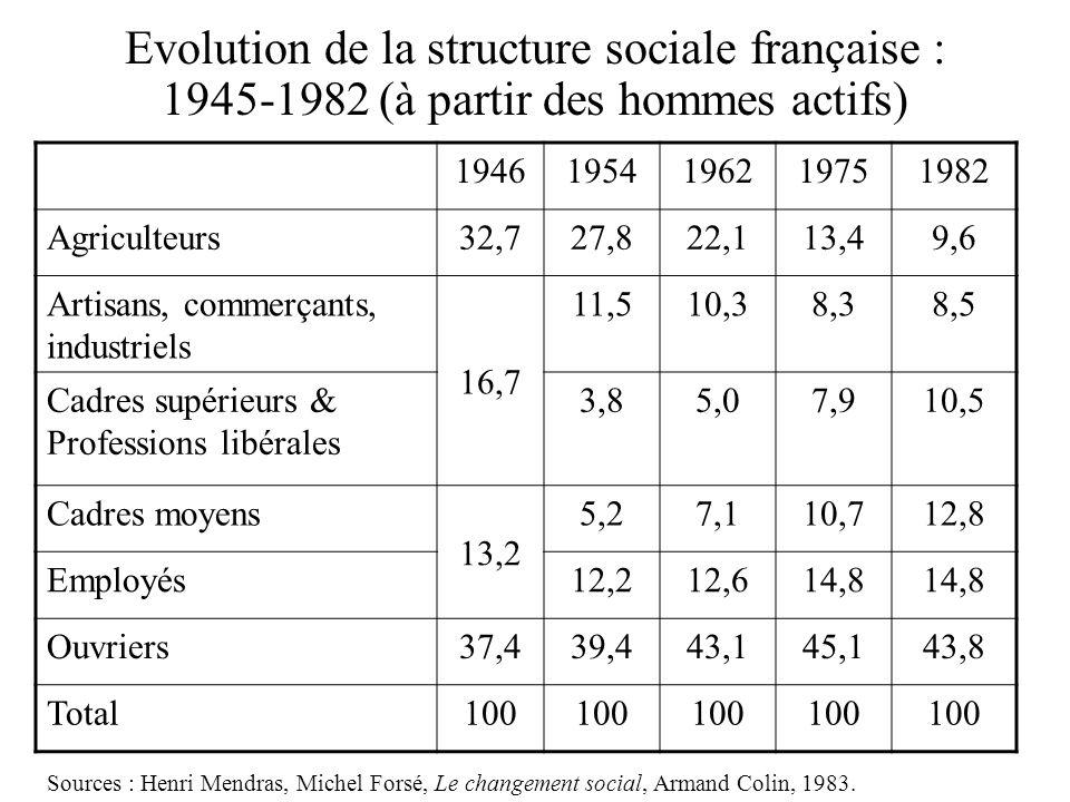 Evolution de la structure sociale française : 1945-1982 (à partir des hommes actifs) 19461954196219751982 Agriculteurs32,727,822,113,49,6 Artisans, commerçants, industriels 16,7 11,510,38,38,5 Cadres supérieurs & Professions libérales 3,85,07,910,5 Cadres moyens 13,2 5,27,110,712,8 Employés12,212,614,8 Ouvriers37,439,443,145,143,8 Total100 Sources : Henri Mendras, Michel Forsé, Le changement social, Armand Colin, 1983.