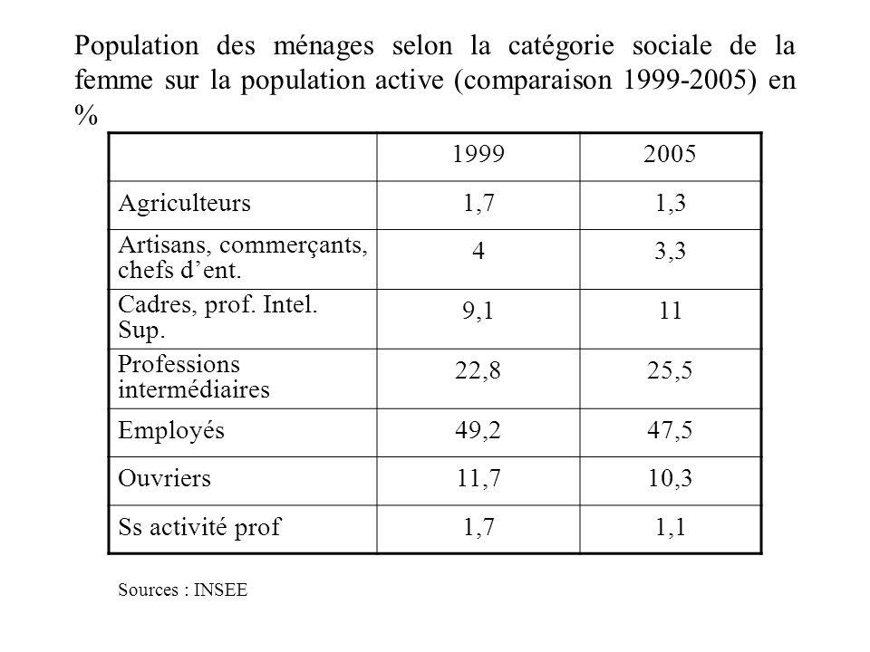 Population des ménages selon la catégorie sociale de la femme sur la population active (comparaison 1999-2005) en % 19992005 Agriculteurs1,71,3 Artisans, commerçants, chefs dent.