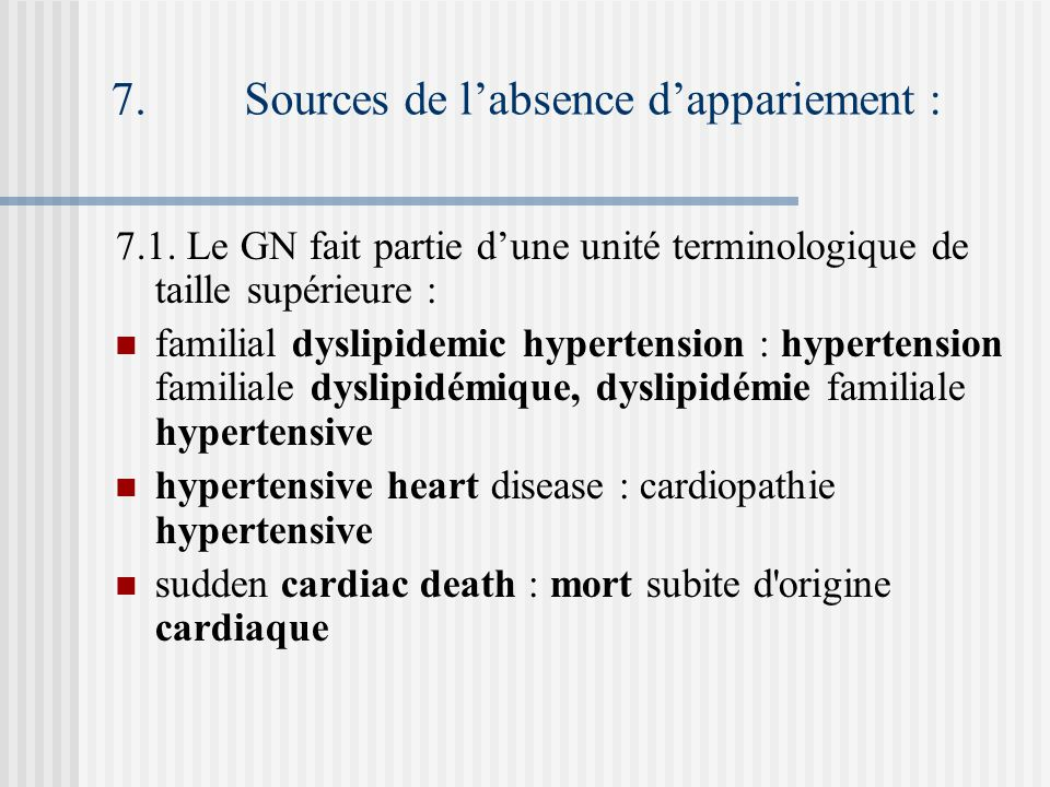 7. Sources de labsence dappariement : 7.1.