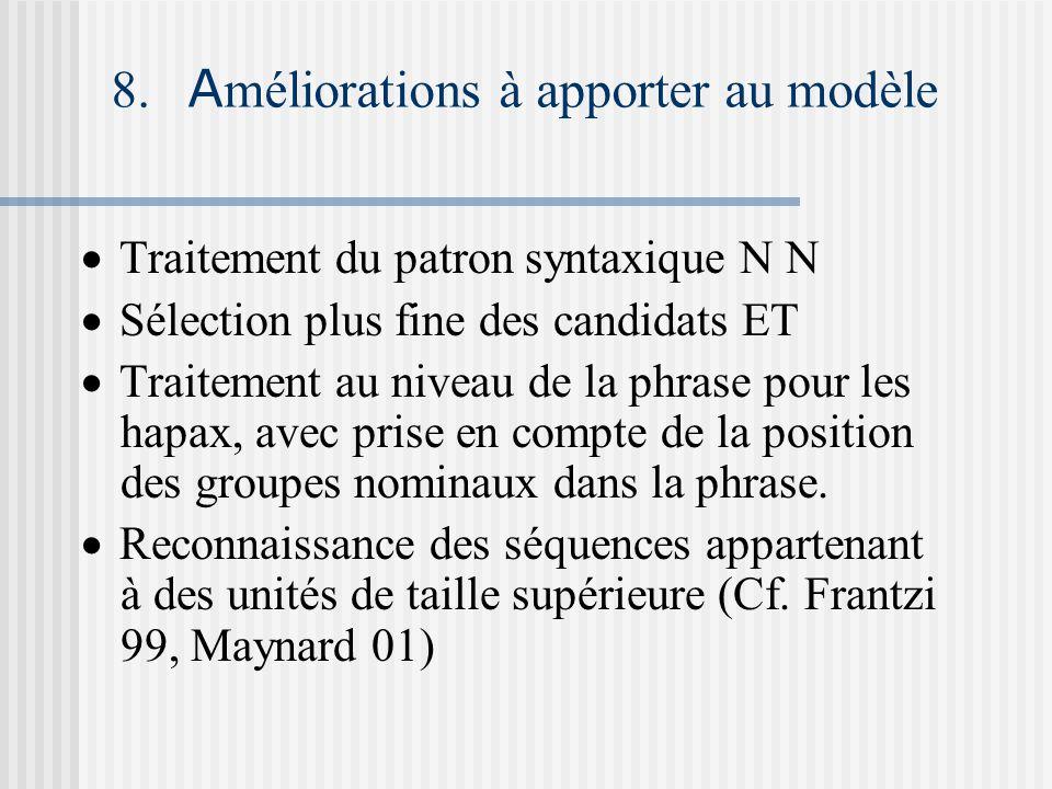 8. A méliorations à apporter au modèle Traitement du patron syntaxique N N Sélection plus fine des candidats ET Traitement au niveau de la phrase pour