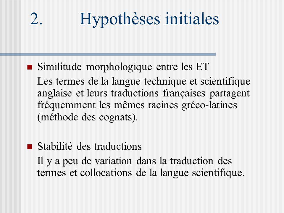 2. Hypothèses initiales Similitude morphologique entre les ET Les termes de la langue technique et scientifique anglaise et leurs traductions français