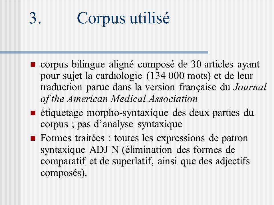 3. Corpus utilisé corpus bilingue aligné composé de 30 articles ayant pour sujet la cardiologie (134 000 mots) et de leur traduction parue dans la ver