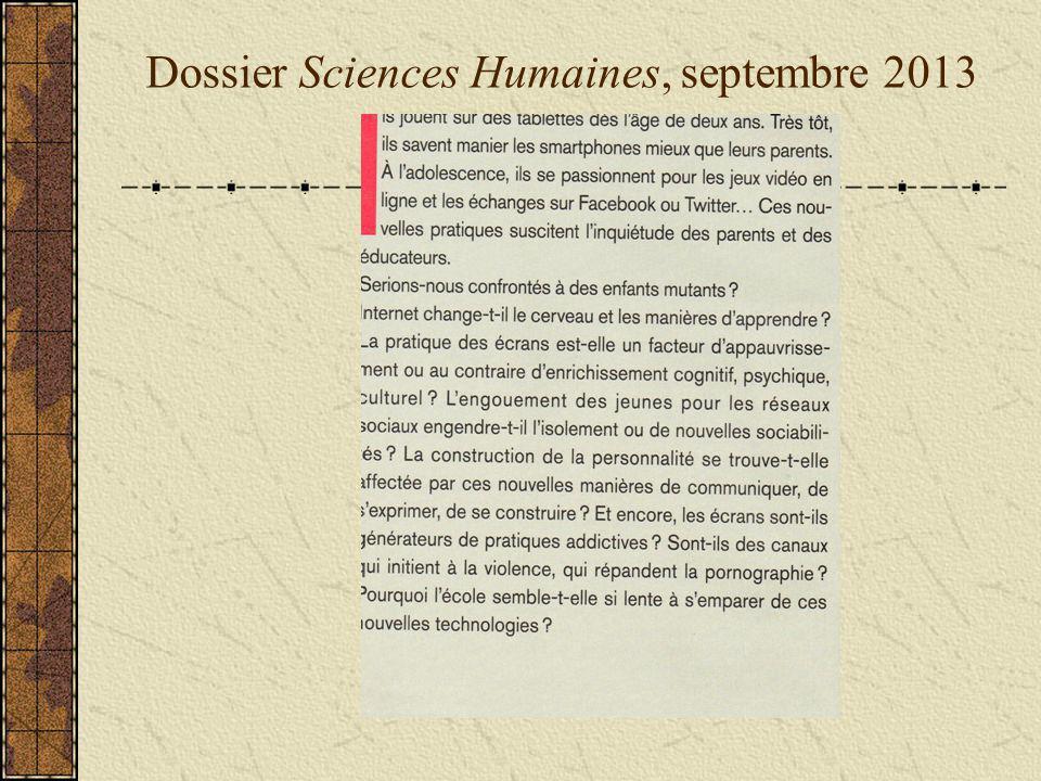 Dossier Sciences Humaines, septembre 2013