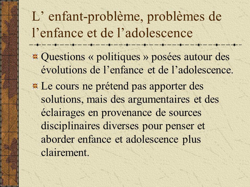 L enfant-problème, problèmes de lenfance et de ladolescence Questions « politiques » posées autour des évolutions de lenfance et de ladolescence.