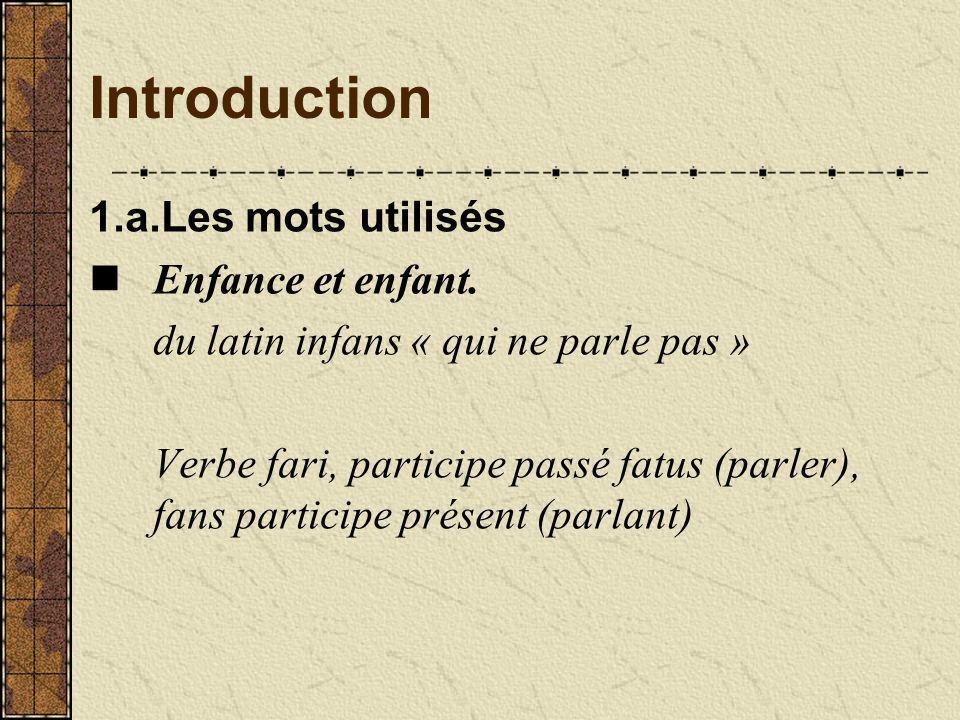 Introduction 1.a.Les mots utilisés Enfance et enfant.
