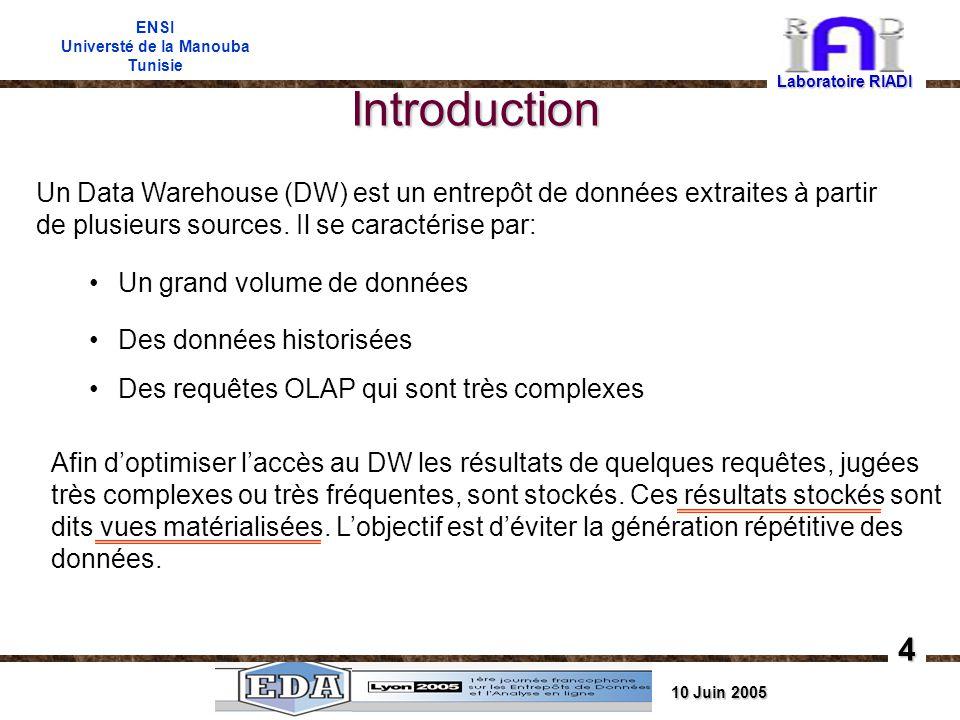 10 Juin 2005 ENSI Universté de la Manouba Tunisie Introduction Laboratoire RIADI 4 Afin doptimiser laccès au DW les résultats de quelques requêtes, jugées très complexes ou très fréquentes, sont stockés.