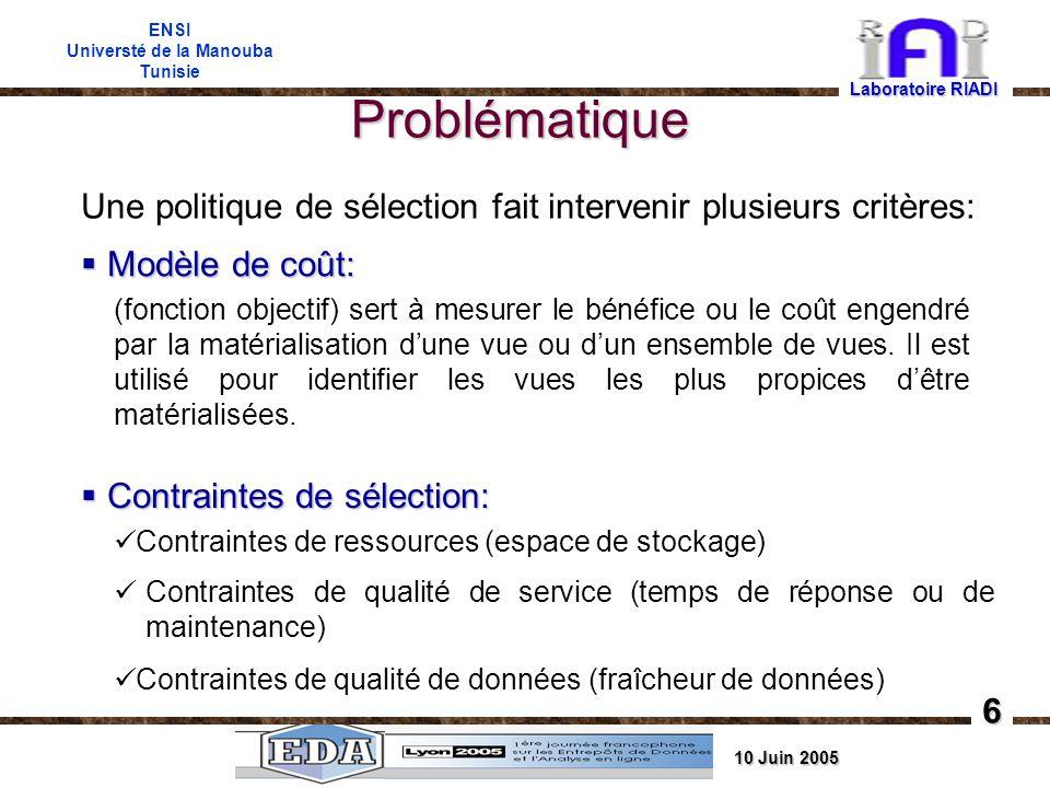 10 Juin 2005 ENSI Universté de la Manouba Tunisie Problématique Une politique de sélection fait intervenir plusieurs critères: Modèle de coût: Modèle de coût: Contraintes de sélection: Contraintes de sélection: (fonction objectif) sert à mesurer le bénéfice ou le coût engendré par la matérialisation dune vue ou dun ensemble de vues.