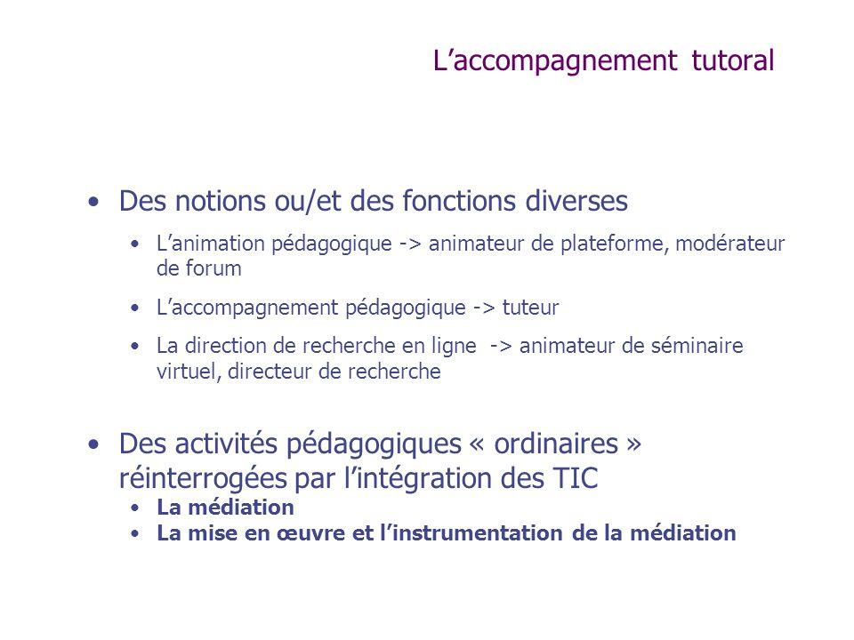 Laccompagnement tutoral Des notions ou/et des fonctions diverses Lanimation pédagogique -> animateur de plateforme, modérateur de forum Laccompagnemen