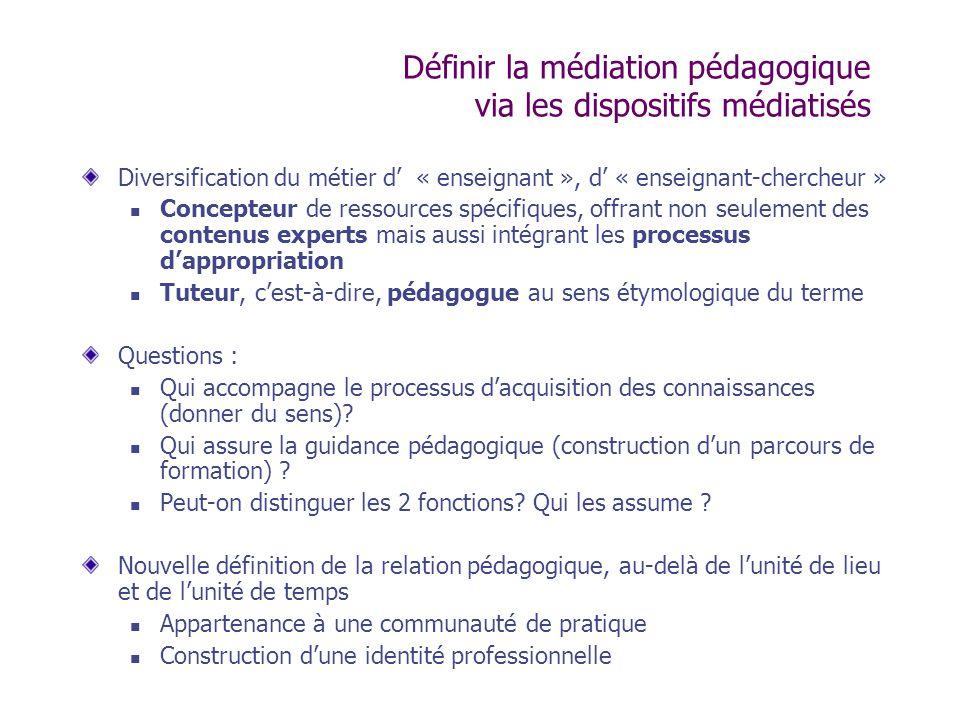 Définir la médiation pédagogique via les dispositifs médiatisés Diversification du métier d « enseignant », d « enseignant-chercheur » Concepteur de r