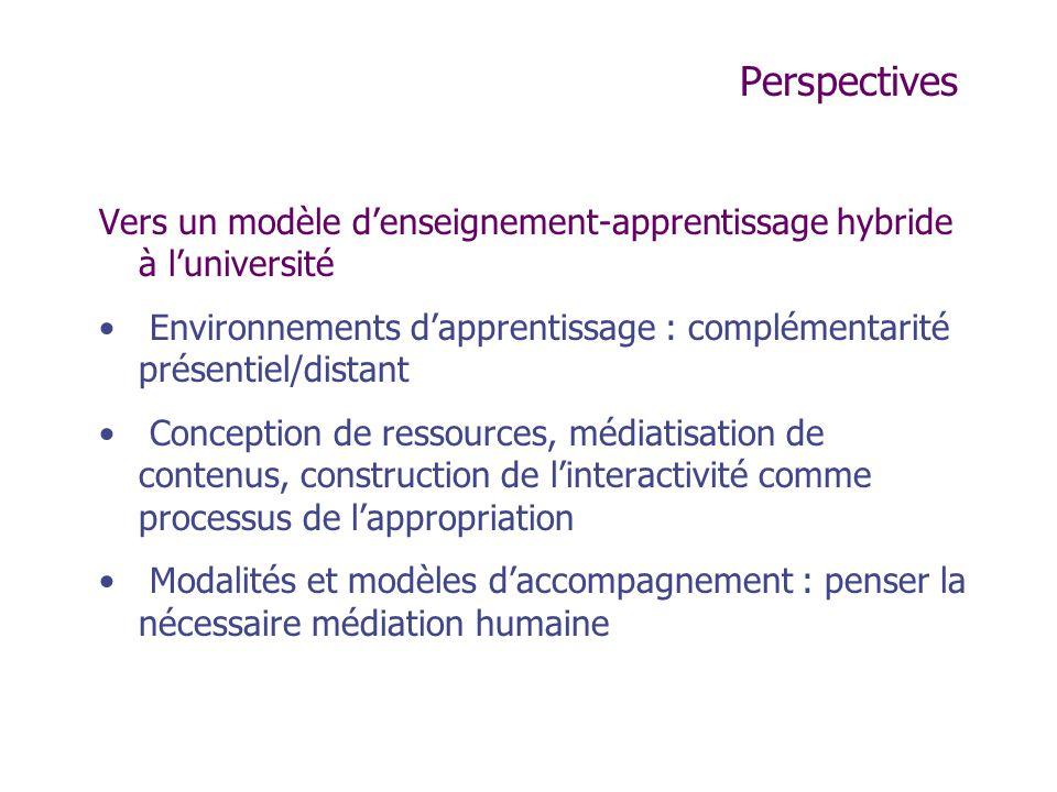 Perspectives Vers un modèle denseignement-apprentissage hybride à luniversité Environnements dapprentissage : complémentarité présentiel/distant Conce