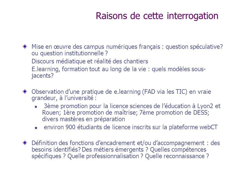 Raisons de cette interrogation Mise en œuvre des campus numériques français : question spéculative? ou question institutionnelle ? Discours médiatique