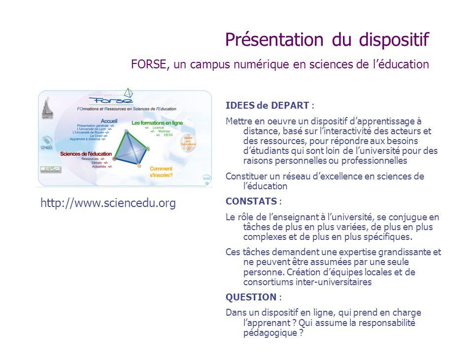 Présentation du dispositif FORSE, un campus numérique en sciences de léducation IDEES de DEPART : Mettre en oeuvre un dispositif dapprentissage à dist