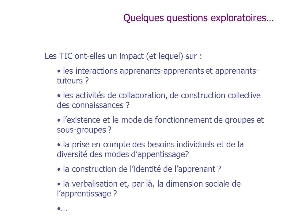 Les TIC ont-elles un impact (et lequel) sur : les interactions apprenants-apprenants et apprenants- tuteurs ? les activités de collaboration, de const
