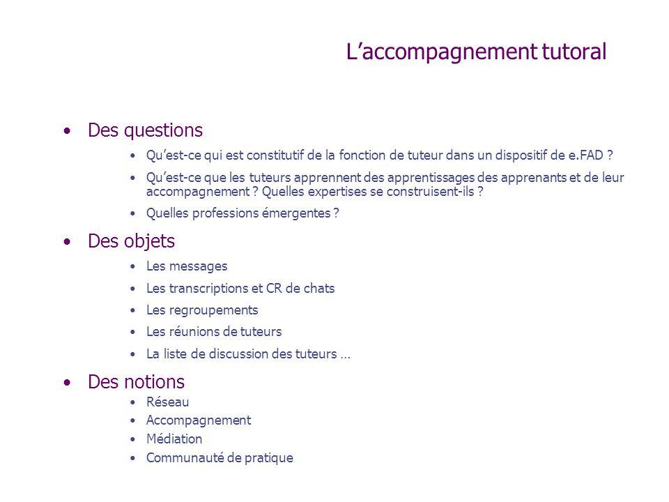 Laccompagnement tutoral Des questions Quest-ce qui est constitutif de la fonction de tuteur dans un dispositif de e.FAD ? Quest-ce que les tuteurs app