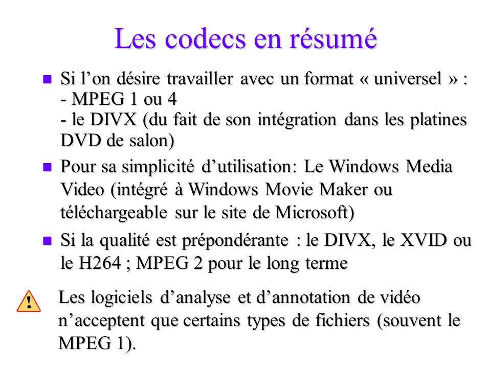 Les codecs en résumé Si lon désire travailler avec un format « universel » : - MPEG 1 ou 4 - le DIVX (du fait de son intégration dans les platines DVD