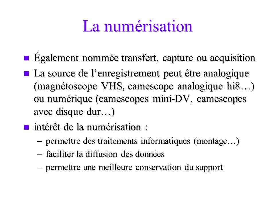 La numérisation Également nommée transfert, capture ou acquisition Également nommée transfert, capture ou acquisition La source de lenregistrement peu