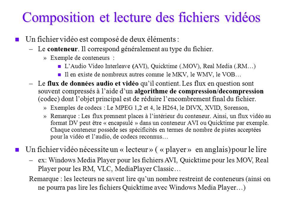La compression Constat : une fois capturées les vidéos sont très volumineuses : Constat : une fois capturées les vidéos sont très volumineuses : –par exemple, 1 heure au format DV occupe 13 Go sur le disque dur (soit un débit de 3,6Mo par seconde) Solution : compresser les données à laide dun CoDec Solution : compresser les données à laide dun CoDec Définition : ensemble dalgorithmes mathématiques implémentés dans un environnement logiciel et/ou matériel qui permettent de réduire lencombrement dun fichier.